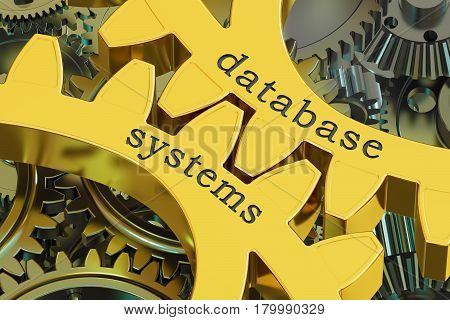 Database Systems concept on the gearwheels 3D rendering