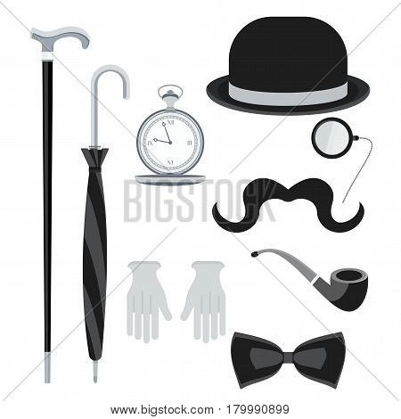 Set of vintage retro secular gentleman accessories. Hours hats details of wardrobe. Flat vector cartoon illustration. Objects isolated on a white background.