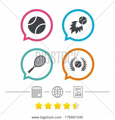 Tennis ball and racket icons. Fast fireball sign. Sport laurel wreath winner award symbol. Calendar, internet globe and report linear icons. Star vote ranking. Vector