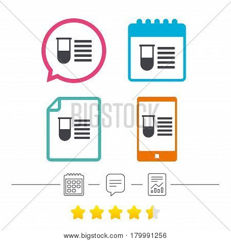 Medical test tube sign icon. Test list. Laboratory equipment symbol. Calendar, chat speech bubble and report linear icons. Star vote ranking. Vector