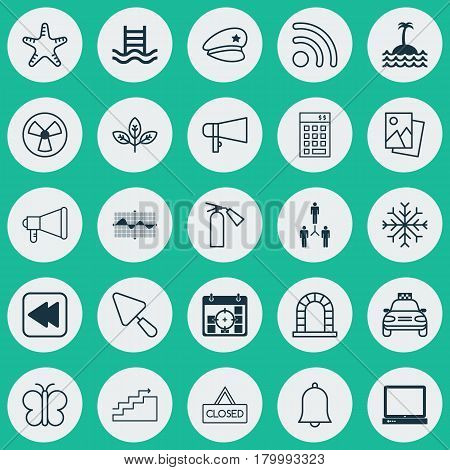 Set Of 25 Universal Editable Icons. Can Be Used For Web, Mobile And App Design. Includes Elements Such As Closed Placard, Arch, Wifi And More.