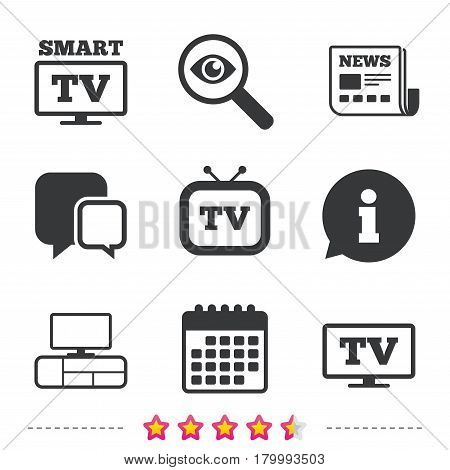 Smart TV mode icon. Widescreen symbol. Retro television and TV table signs. Newspaper, information and calendar icons. Investigate magnifier, chat symbol. Vector