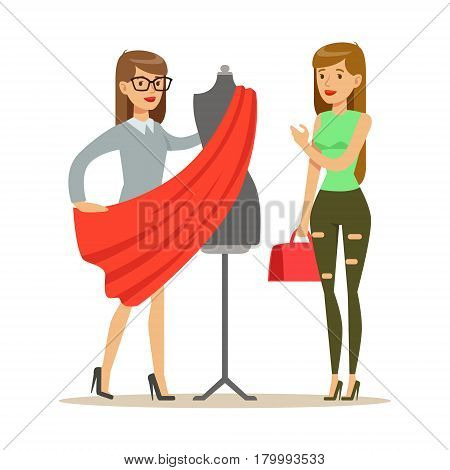 Woman And Designer Choosing Fabric For Dress , Part Of People Using Tailoring And Design Professional Service Set Of Vector Illustrations. Person Taking Care Of The Clothes And Laundry Cartoon Drawing With Smiling Character.