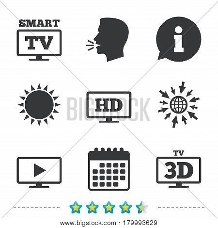 Smart TV mode icon. Widescreen symbol. High-definition resolution. 3D Television sign. Information, go to web and calendar icons. Sun and loud speak symbol. Vector