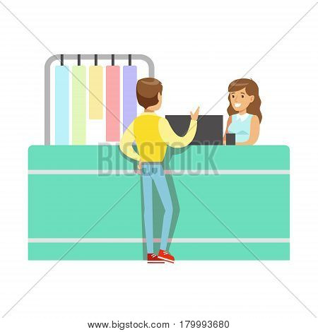 Client And Worker At Dry-Cleaning Counter, Part Of People Using Clothing Dry Cleaning Professional Service Set Of Vector Illustrations. Person Taking Care Of The Clothes And Laundry Cartoon Drawing With Smiling Character.