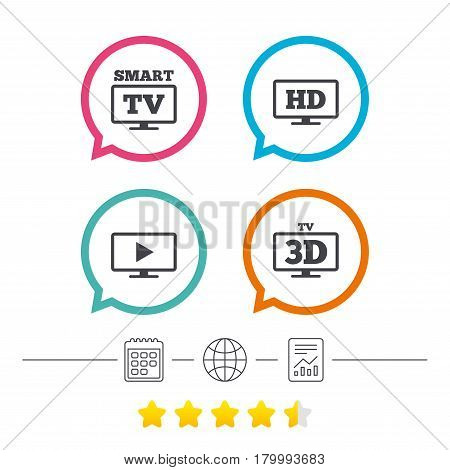 Smart TV mode icon. Widescreen symbol. High-definition resolution. 3D Television sign. Calendar, internet globe and report linear icons. Star vote ranking. Vector