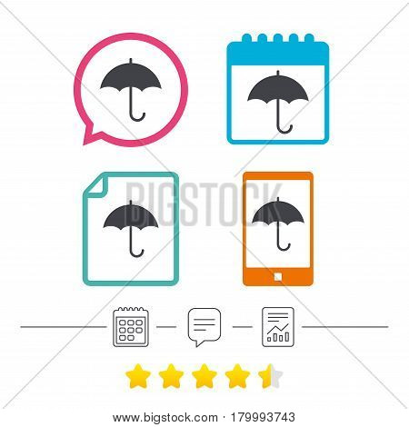 Umbrella sign icon. Rain protection symbol. Calendar, chat speech bubble and report linear icons. Star vote ranking. Vector