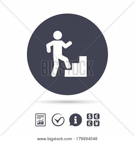 Upstairs icon. Human walking on ladder sign. Report document, information and check tick icons. Currency exchange. Vector