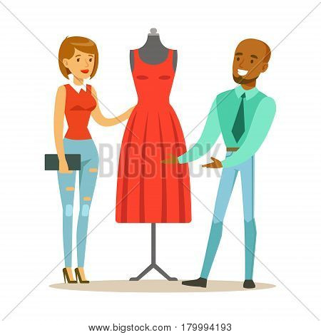 Designer Demonstrating Finished Red Dress To Client, Part Of People Using Tailoring And Design Professional Service Set Of Vector Illustrations. Person Taking Care Of The Clothes And Laundry Cartoon Drawing With Smiling Character.