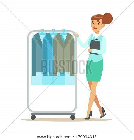 Woman Employee Rolling A Rail With Clean Suit Jackets, Part Of People Using Clothing Dry Cleaning Professional Service Set Of Vector Illustrations. Person Taking Care Of The Clothes And Laundry Cartoon Drawing With Smiling Character.