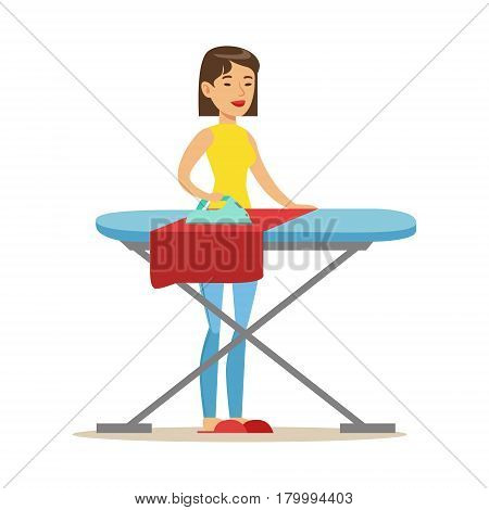 Girl Ironing Laundry After Washing, Part Of People Using Automatic Self-Service Laundromat Washing Machines Of Vector Illustrations. Person Taking Care Of The Clothes And Laundry Cartoon Drawing With Smiling Character.