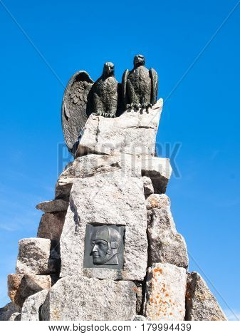 Gotthardpass Switzerland - May 14 2015: Statue to the Gotthard pass. The pass is still a lot of snow in the winter