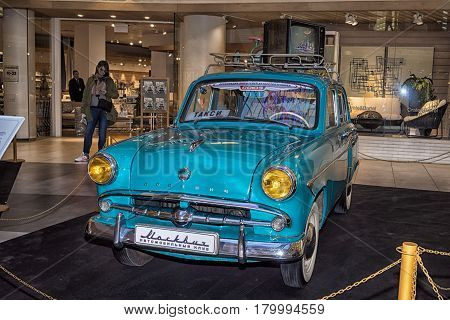 Moscow Russia - April 02 2017: Moskvitch 407 USSR 1960. Retro car exibition in shopping mall Metropolis.