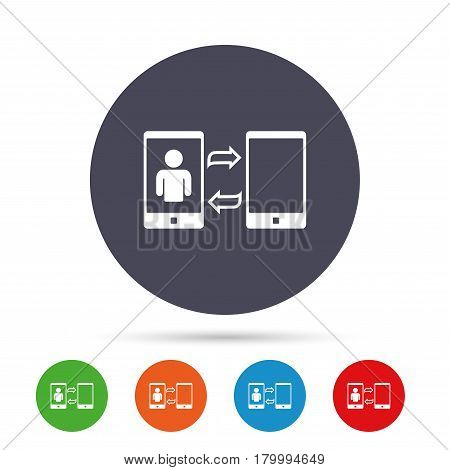 Change Video call to simple call sign icon. Smartphone symbol. Round colourful buttons with flat icons. Vector