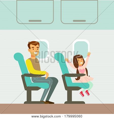 Father And Daughter Taking The Plane, Part Of People Taking Different Transport Types Series Of Cartoon Scenes With Happy Travelers. Travelling With Public Transportation Vector Simplified Scene.