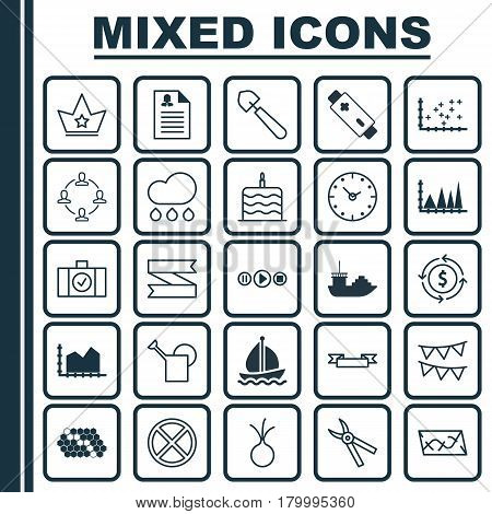 Set Of 25 Universal Editable Icons. Can Be Used For Web, Mobile And App Design. Includes Elements Such As Garlic, Sail Ship, Time And More.