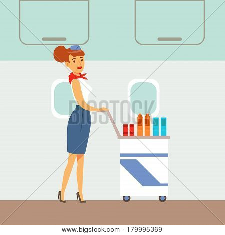 Flight Attendant Serving Drinks On A Plane, Part Of People Taking Different Transport Types Series Of Cartoon Scenes With Happy Travelers. Travelling With Public Transportation Vector Simplified Scene.