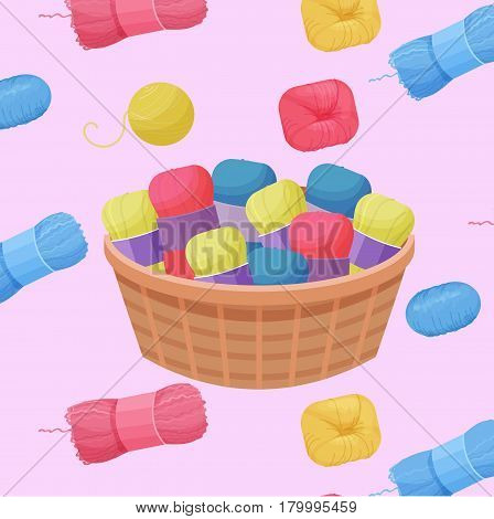 Seamless colorful pattern vector illustration with woolen colorful yarn skeins for knitting and handmade concept