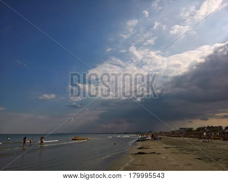 Storm clouds at seaside, Black Sea, Romania.
