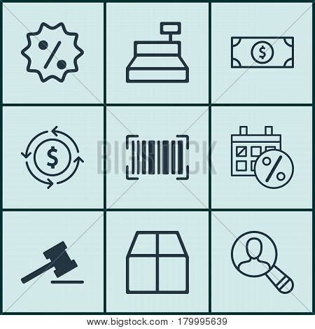 Set Of 9 E-Commerce Icons. Includes Buck, Cardboard, Identification Code And Other Symbols. Beautiful Design Elements.