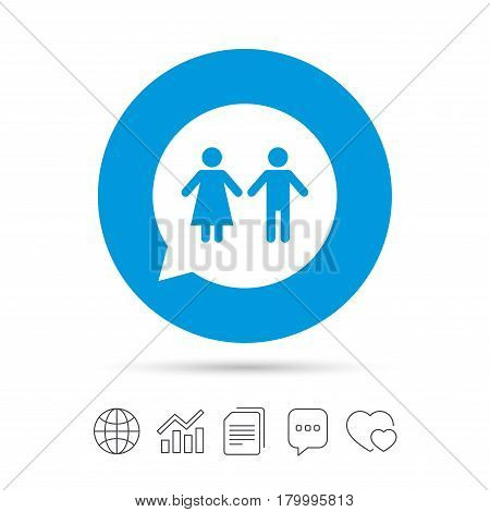 Toilet sign icon. Restroom or lavatory speech bubble symbol. Copy files, chat speech bubble and chart web icons. Vector