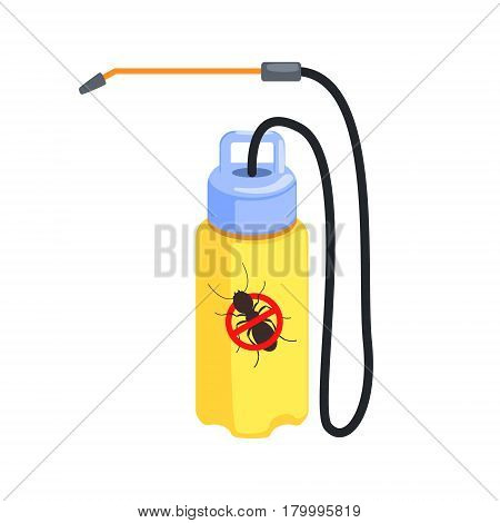 Yellow pressure sprayer for extermination of termites and ants. Pest control service, detecting exterminating insects. Colorful cartoon illustration isolated on a white background