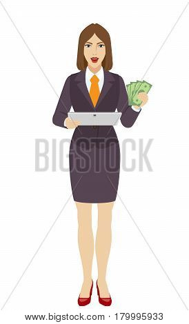 Businesswoman holding a digital tablet PC and showing cash money. Full length portrait of businesswoman in a flat style. Vector illustration.