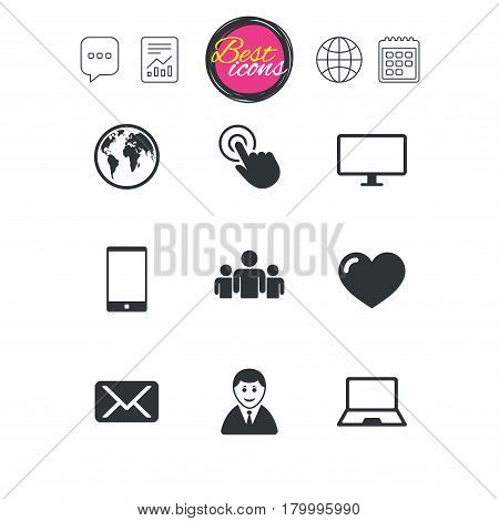 Chat speech bubble, report and calendar signs. Web, mobile devices icons. Share, mail and like signs. Laptop, phone and monitor symbols. Classic simple flat web icons. Vector