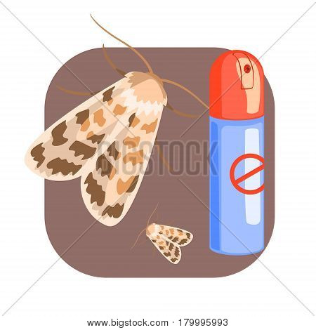 Can of moth insecticide. Pest control service, detecting exterminating insects. Colorful cartoon illustration