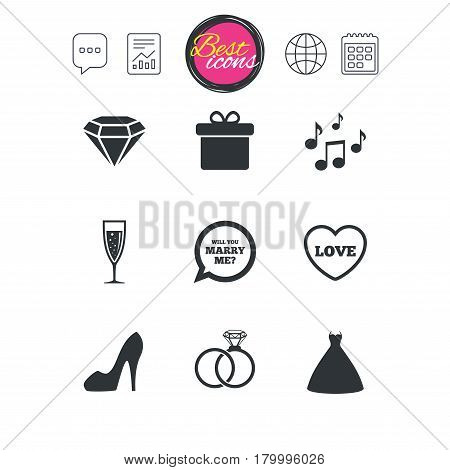 Chat speech bubble, report and calendar signs. Wedding, engagement icons. Rings, gift box and brilliant signs. Dress, shoes and musical notes symbols. Classic simple flat web icons. Vector