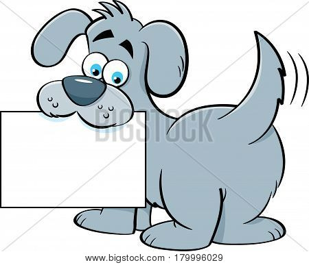 Cartoon illustration of a dog holding a sign in it's mouth.