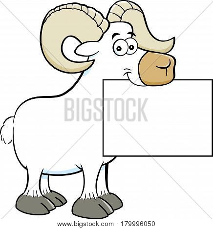 Cartoon illustration of a ram holding a sign in it' mouth.
