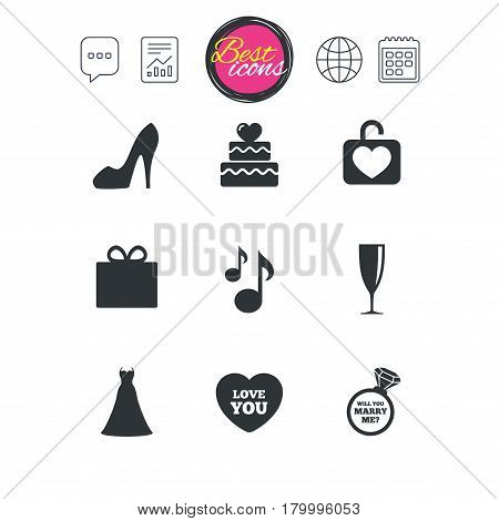 Chat speech bubble, report and calendar signs. Wedding, engagement icons. Cake with heart, gift box and brilliant signs. Dress, shoes and musical notes symbols. Classic simple flat web icons. Vector