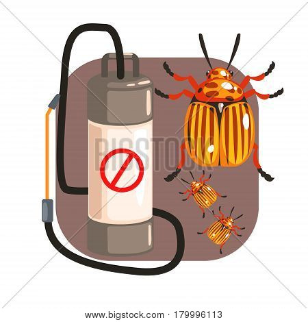 Pressure sprayer for extermination colorado potato beetles. Pest control service, detecting exterminating insects. Colorful cartoon illustration