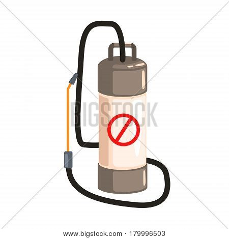 Pump pressure sprayer. Pest control service, detecting exterminating insects. Colorful cartoon illustration isolated on a white background