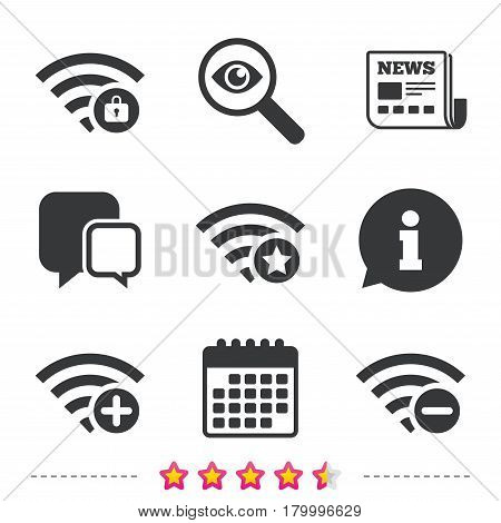 Wifi Wireless Network icons. Wi-fi zone add or remove symbols. Favorite star sign. Password protected Wi-fi. Newspaper, information and calendar icons. Investigate magnifier, chat symbol. Vector