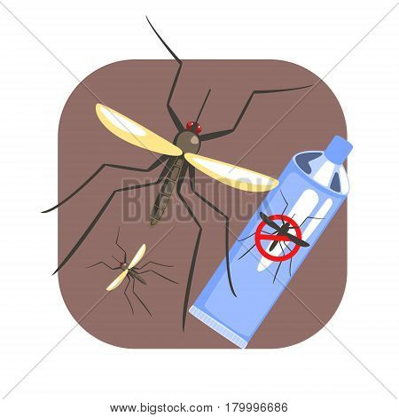 Mosquito insect and mosquito repellent spray blue can. Pest control service, detecting exterminating insects. Colorful cartoon illustration