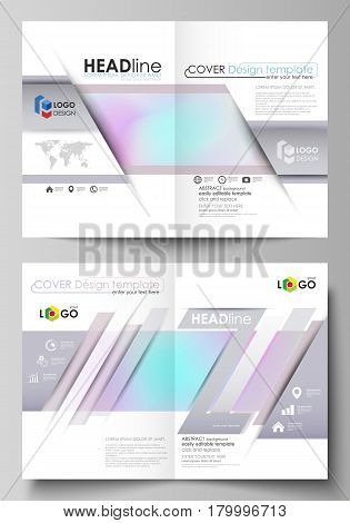 Business templates for bi fold brochure, magazine, flyer, booklet or annual report. Cover design template, easy editable vector, abstract flat layout in A4 size. Hologram, background in pastel colors with holographic effect. Blurred colorful pattern, futu