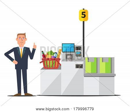 Vector male customer in a business suit using self checkout register. Red shopping basket full of grocery. Grey metal self service machine with cash and card payment and bagging area