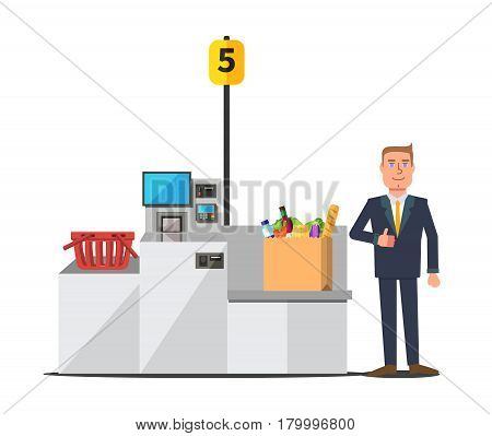 Vector male happy customer in a business suit using self checkout register. Big paper bag full of grocery. Red empty shopping basket. Grey metal self service machine with cash and card payment