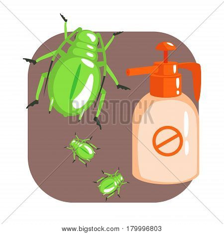 Orange sprayer bottle of green longhorn beetle insecticide. Pest control service, detecting exterminating insects. Colorful cartoon illustration isolated on a white background