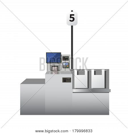 Vector self checkout machine. Grey metal register with touchscreen options for cards and cash payment. Bagging area. Isolated object on white background