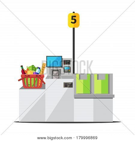 Vector red shopping basket full of grocery standing on a grey metal self checkout machine with cash and card payment and bagging area
