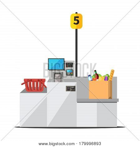 Vector big paper shopping bag full of grocery standing on a grey metal self checkout machine with cash and card payment and bagging area. Empty red shopping bag is placed on the other side