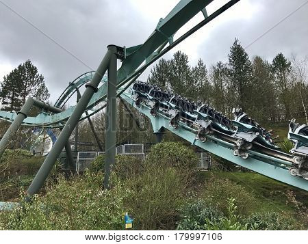 ALTON TOWERS - MARCH 30, 2017: Galactica at Alton Towers Resort in Staffordshire, England, UK. The ride was previously known as Air.