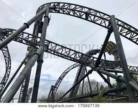 ALTON TOWERS - MARCH 30, 2017: The Smiler at Alton Towers Theme Park in Staffordshire, England, UK.