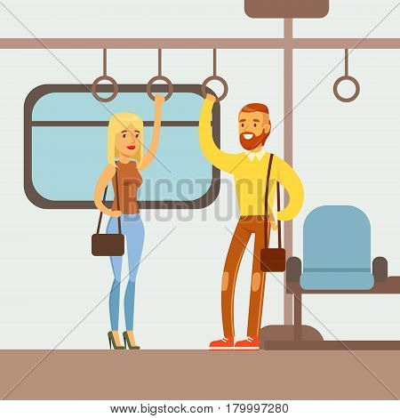 Couple Standing In The Metro Train Car, Part Of People Taking Different Transport Types Series Of Cartoon Scenes With Happy Travelers. Travelling With Public Transportation Vector Simplified Scene.