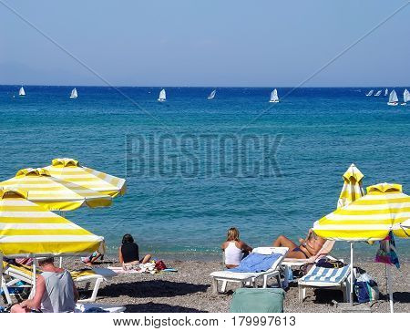 Training yachtsmen on the beach of the city of Rhodes. Greece