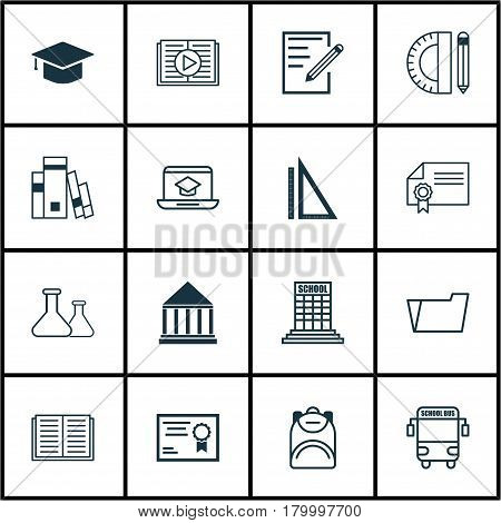 Set Of 16 School Icons. Includes Document Case, Diploma, Haversack And Other Symbols. Beautiful Design Elements.