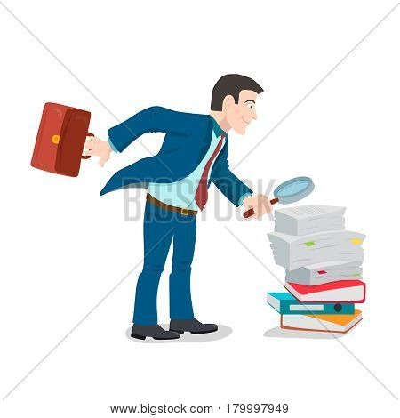 Businessman with magnifying glass standing on pile of paper, business concept